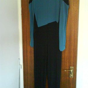 Star Trek: TNG season one and two science/medical jumpsuit. Teal and black heavy weight spandex