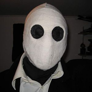 Franklyn mask - made with one of those cheap hockey masks, duct tape, and a cloth overlay.