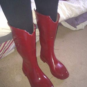 Boots redesigned and painted from wellingtons
