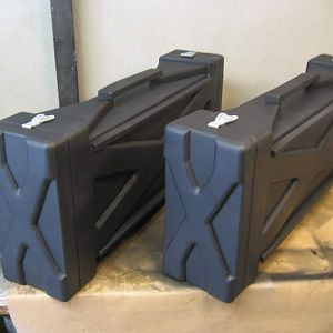 "The cases were made out 1"" and 1/2 black L-200, then spray coated with black ballon rubber latex."
