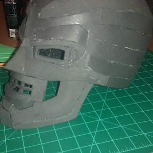 Left side shot of foam helmet