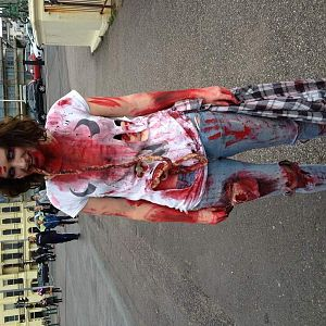 brighton zombie walk with awfull unconvincing gore and a pair of latex covered tights. i mean entrails