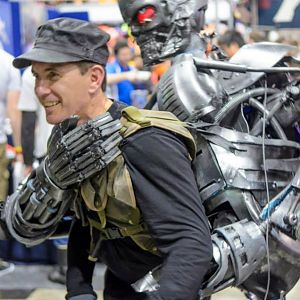 Battle Damaged T-600 Terminator (backpack).   The Terminator is a legless version like the one that attacked John Connor at the chopper in Terminator