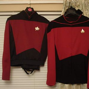 These two costumes are from Star Trek: TNG. The jacket was also seen in Generations and Deep Space Nine. Both of these costumes I made myself