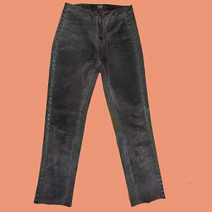 The trousers I'll wear underneath the tabard-like leather dress. Brown suede from the 1990s. Similar cross stitching in leather up the legs, to what i