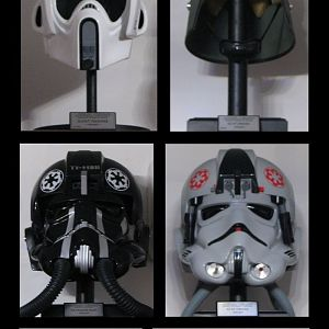 Helmet collection - TE2 Sandtrooper (weathered by Madrid Boba), ANH SDS stunt, ANH TE2, ANH RS Prop Masters, ESB ATA, ROTJ CfO, MonCal (FAC) Snowtroop
