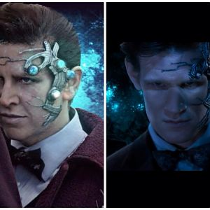 Just a side-by-side since some people don't know what character my costume is based off of.  Myself and the glorious Matt Smith as Mr. Clever. *drools