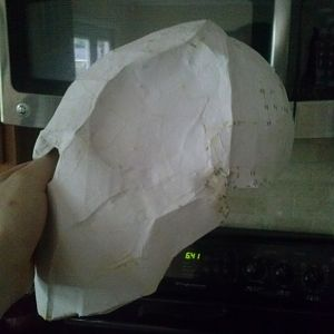 Pep mask with some papermache on it