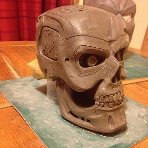 Terminator T800 skull clay sculpture