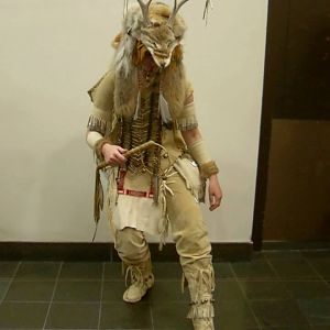 This was my first costume I made. I had always wanted a costume with antlers. I decided to make a Coyote the Trickster costume, he/she is a being from