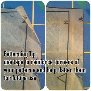 Commercial sewing patterns are very thin and tear easily. Preserve the pattern integrity for future uses by taping delicate areas.