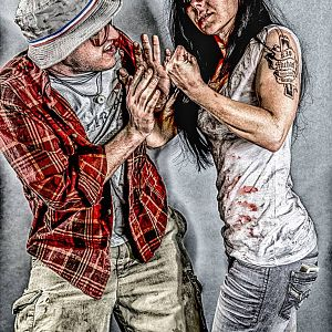 Female Trevor Philips and an old friend who was a good sport as Ron Jakowski from GTA V. Photo by Chris Auditore Photography.