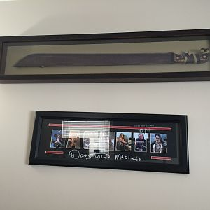 Above is a nicely framed commercially produced replica of a Machete from the remake of Friday the 13th.  Its one of the better replicas I have seen fo