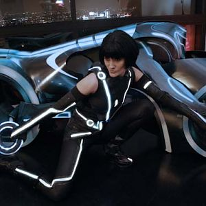 Quorra by my Light Cycle I won from the IGN Tron Legacy costume contest Dec. 2010