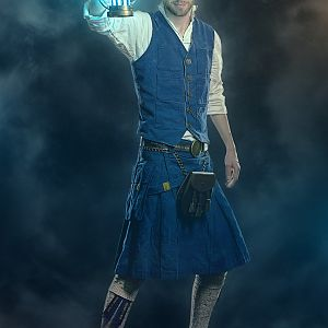 Full length photo of the completed costume. Bespoke vest and kilt were designed and constructed by myself out of bright blue cotton twill (denim, but
