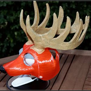 3d printed puppet head toon stag antlers5