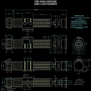DARTH SABER ANH Obi-Wan Kenobi saber blueprint