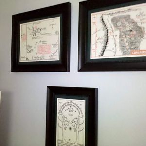 These I had commissioned by an artist out of New Zealand.  Each is hand drawn with archival inks on vellum.  From top left: Thror's Map, Wilderland Ma