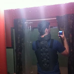 Wearing the armor, back shot. Not painted.