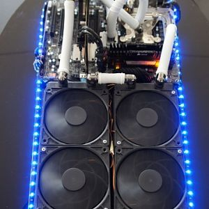 the watercooled pc running , assembled for the 2011 coolermaster casemod contest