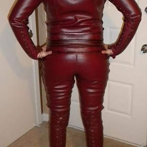 Back of catsuit with belts