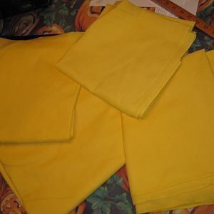 the top most yellow is lighter and will be used for the inside of the tabbard.