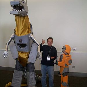 Matt as Wheelie with our buddy Dave in his Grimlock costume with Gregg Berger (voice of Grimlock).