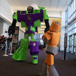 Wheelie taking on Devastator! (Our buddy Ken is Devastator)