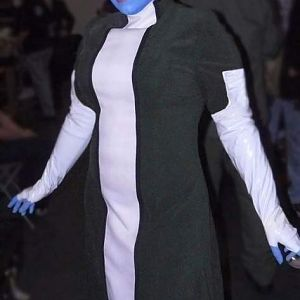 Liara T'soni from Mass Effect2 Costume made from microsuede, pleather and pvc. Headpiece by Michaela Debruce