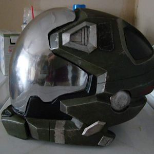 Halo Reach Pilot Helmet, I sprayed mirror chrome on the visor and yes you can see out of it